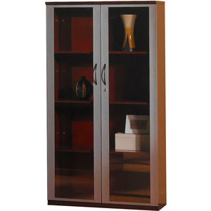 """CORSICA SERIES 68"""" WALL CABINET WITH GLASS DOORS SIERRA CHERRY by Safco"""