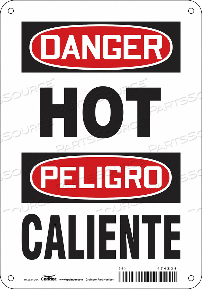 DANGER SIGN 7 W X 10 H 0.055 THICK by Condor