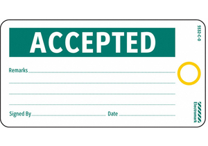 ACCEPTED TAG 3 X 5-1/2 IN GRN/WHT PK25 by Electromark