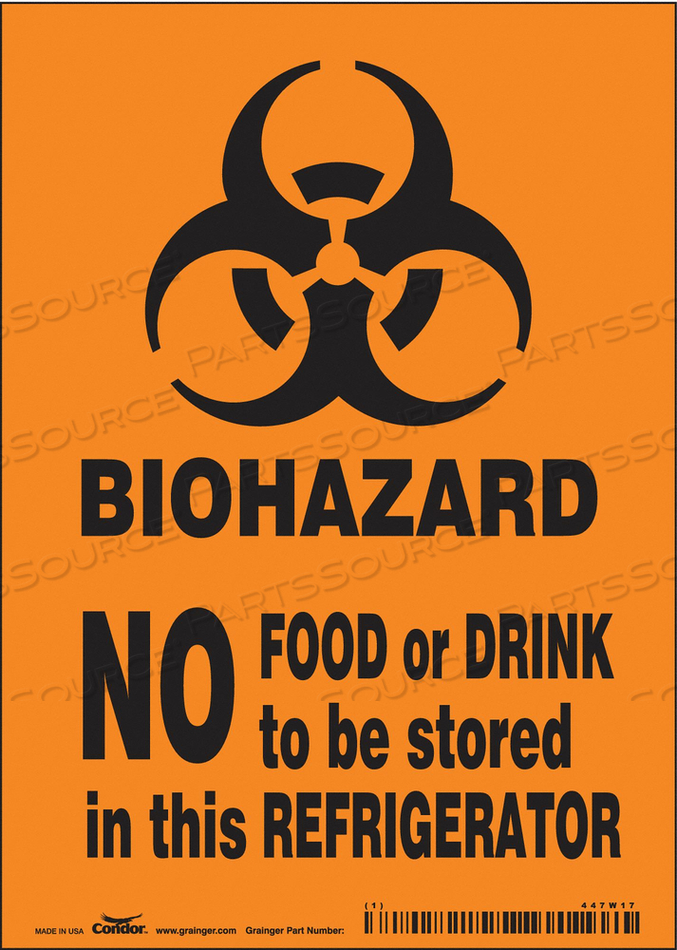 BIOHAZARD SIGN 5 W 7 H 0.004 THICK by Condor