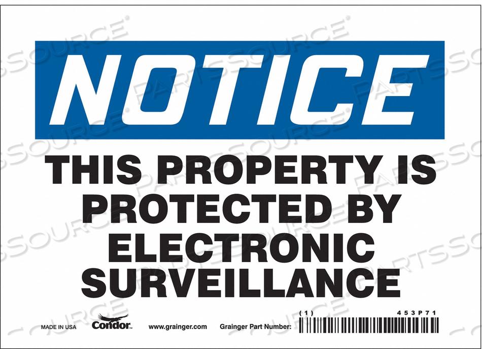 SECURITY SIGN 5 H 7 W VINYL by Condor