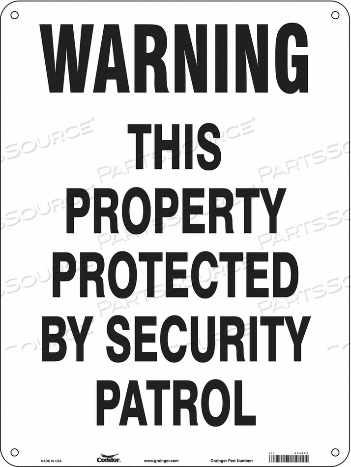 SECURITY SIGN 24 H 18 W PLASTIC by Condor