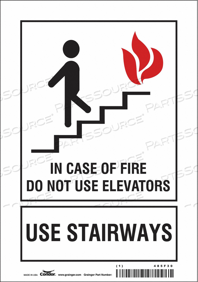 SAFETY SIGN IN CASE OF FIRE 10 X7 by Condor
