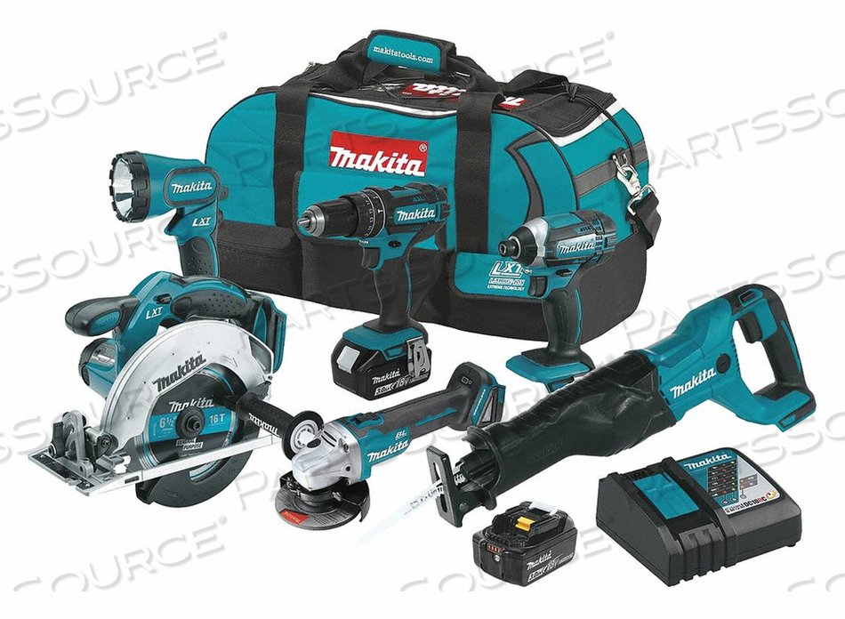 CORDLESS COMBO KIT 18.0 V 6 TOOLS 2 BATT by Makita
