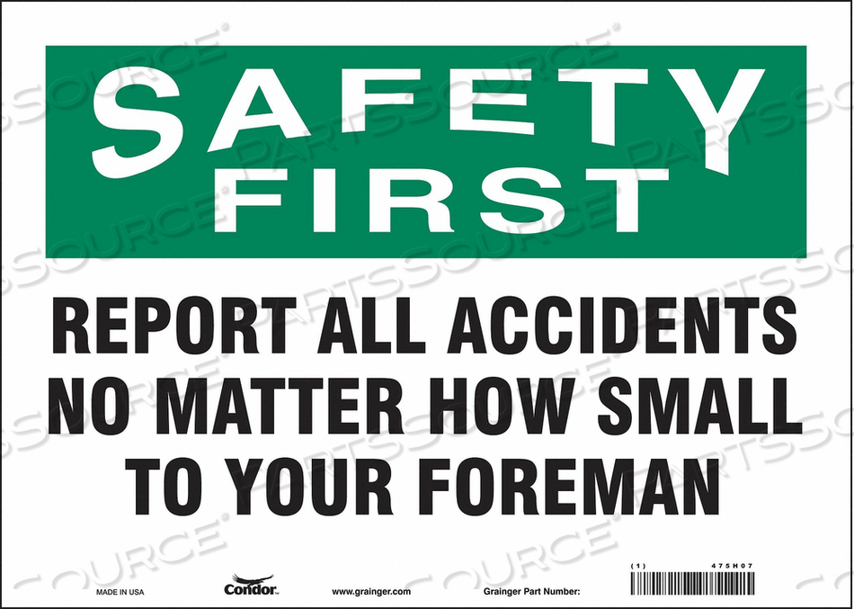 J7028 SAFETY SIGN 14 W 10 H 0.004 THICKNESS by Condor