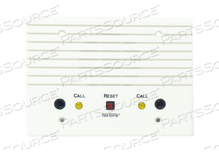 DUAL PATIENT STN, TWO ¼? CALL CORD JACKS, CALL-PLACED & PRIVACY INDICATORS, CANCEL BUTTON, 3-GANG ABS PLASTIC PLATE by TekTone Sound & Signal Mfg., Inc.