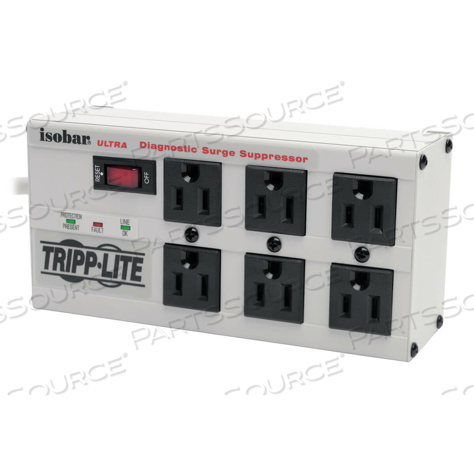 TRIPP LITE ISOBAR SURGE PROTECTOR METAL 6 OUTLET 6FT CORD 3330 JOULE by Tripp Lite