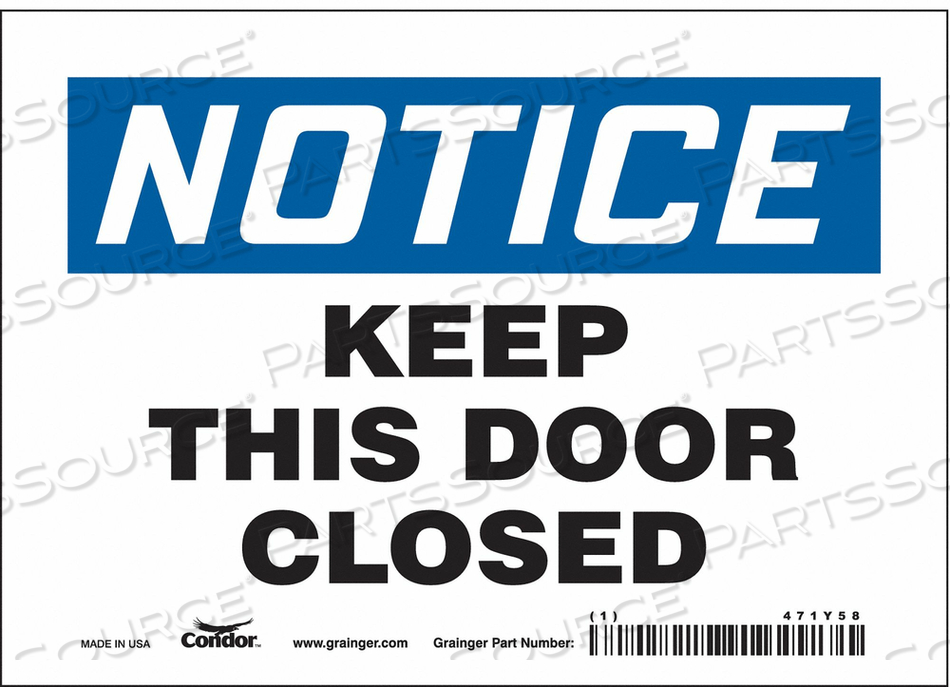 J6997 SAFETY SIGN 7 W X 5 H 0.004 THICK by Condor