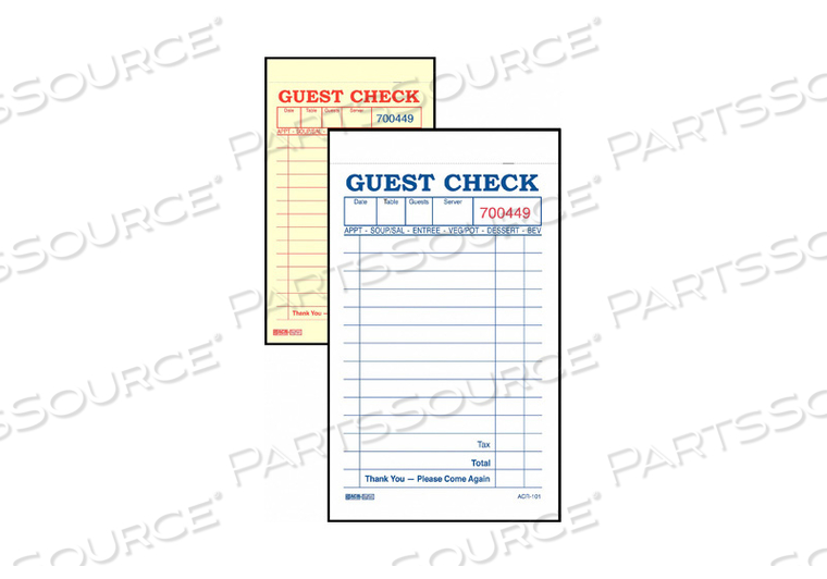 GUEST CHECKS 2-PART CARBONLESS PK100 by Daymark