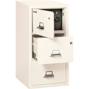 """FIREPROOF 3 DRAWER VERTICAL SAFE-IN-FILE LEGAL 20-13/16""""WX31-9/16""""DX40-1/4""""H IVORY WHITE by Fire King"""