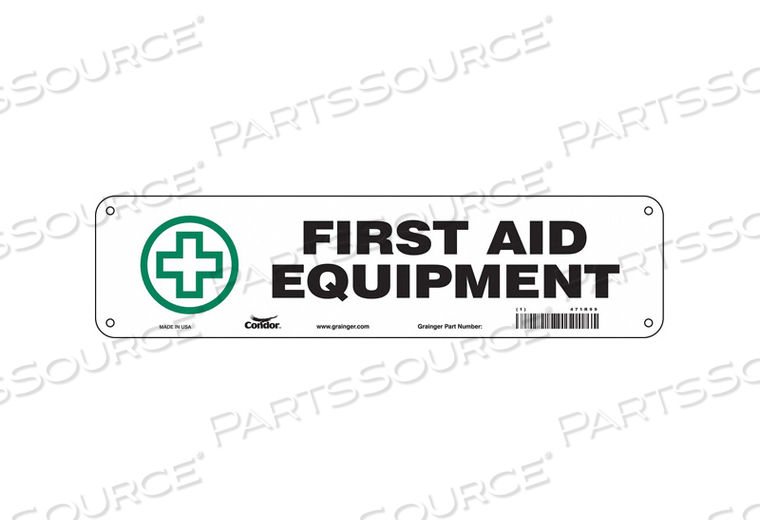 FIRST AID SIGN 14 WX3-1/2 H 0.055 THICK by Condor