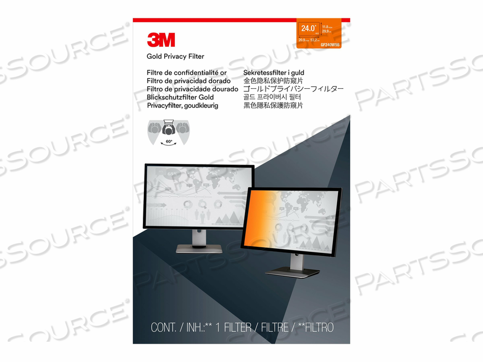 """3M GOLD PRIVACY FILTER FOR 24"""" WIDESCREEN MONITOR - DISPLAY PRIVACY FILTER - 24"""" WIDE - BLACK, GOLD by 3M Consumer"""