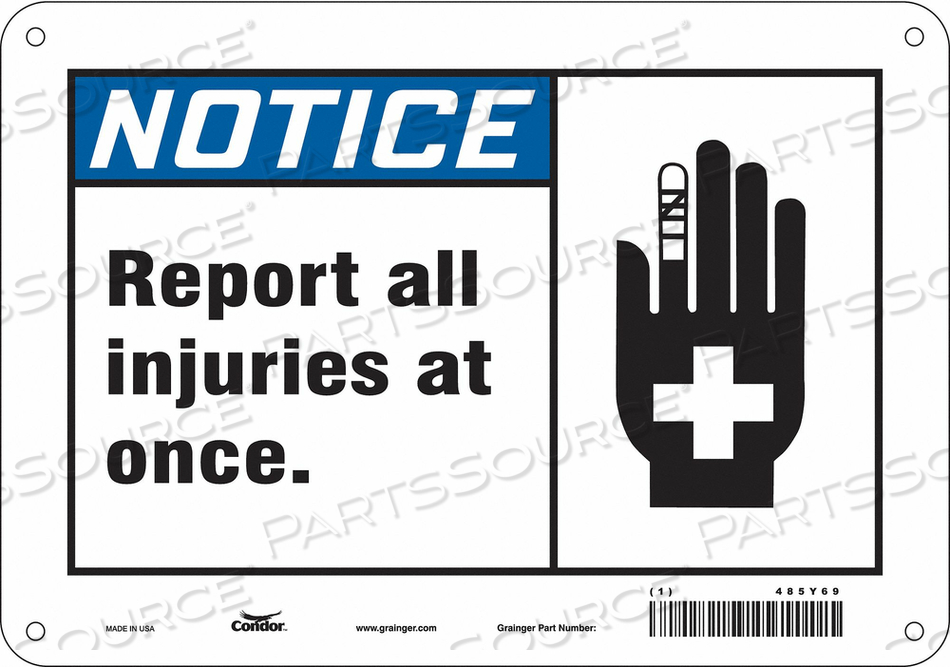 FIRST AID SIGN 10 W 7 H 0.055 THICKNESS by Condor