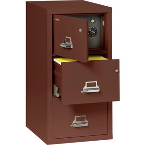 """FIREPROOF 3 DRAWER VERTICAL SAFE-IN-FILE LEGAL 20-13/16""""WX31-9/16""""DX40-1/4""""H BROWN by Fire King"""