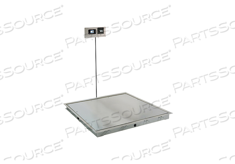 IN-FLOOR DIALYSIS SCALE, 1000 LB, SS DECK, 4 FT X 4 FT, 855 RECESSED WALL-MOUNT INDICATOR WITH PRINTER by Detecto Scale / Cardinal Scale