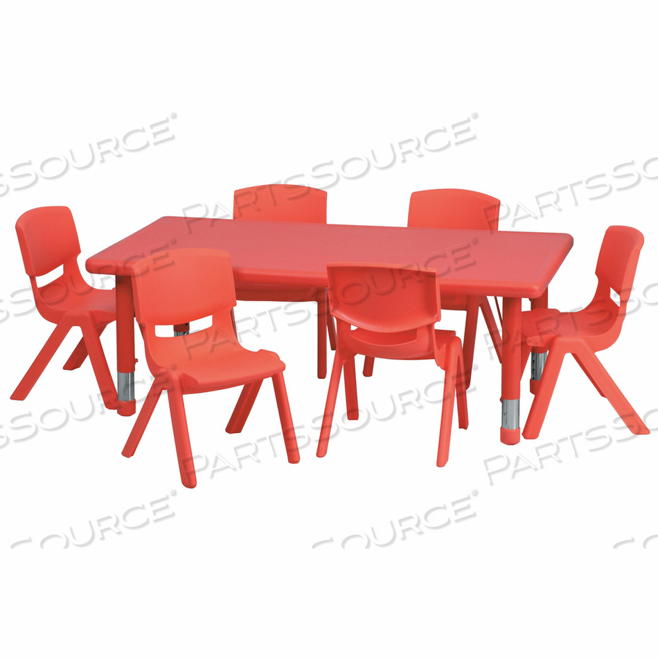 TABLE SET RECTANGLE RED 6 CHRS 24 X48 by Flash Furniture