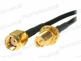 STARTECH.COM RP-SMA TO SMA WIRELESS ANTENNA ADAPTER CABLE - ANTENNA CABLE - RP-SMA (M) TO RP-SMA (F) - 10 FT - BLACK by StarTech.com Ltd.