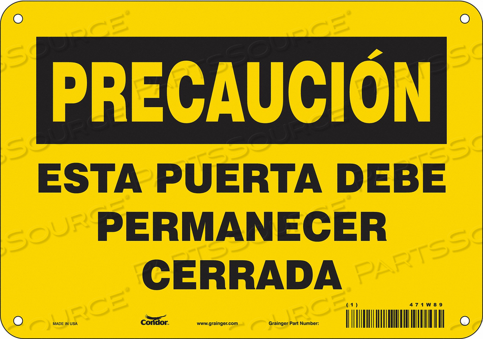 SAFETY SIGN 10 W X 7 H 0.032 THICK by Condor