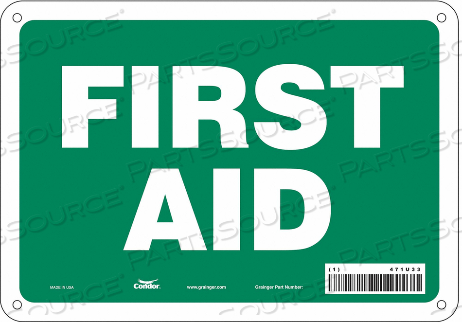 FIRST AID SIGN 10 W X 7 H 0.032 THICK by Condor