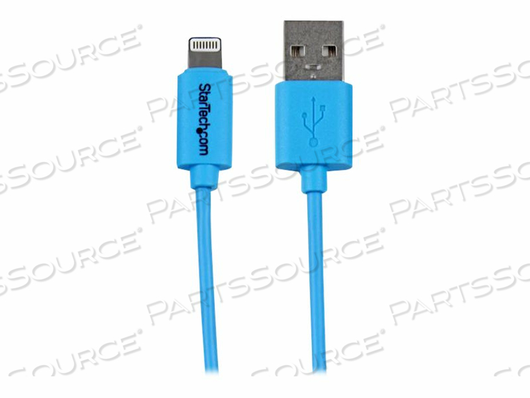 STARTECH.COM 1M BLUE APPLE 8-PIN LIGHTNING TO USB CABLE FOR IPHONE IPAD - IPAD / IPHONE / IPOD CHARGING / DATA CABLE - LIGHTNING / USB - 24/28/32 AWG - LIGHTNING (M) TO USB (M) - 3.3 FT - DOUBLE SHIELDED - BLUE - FOR APPLE IPAD AIR, IPAD MINI, IPAD MINI WITH RETINA DISPLAY, IPAD WITH RETIN by StarTech.com Ltd.