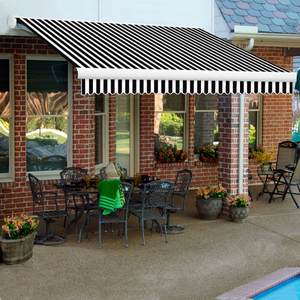 """RETRACTABLE AWNING LEFT MOTOR 24'W X 10""""D X 10""""H BLACK/WHITE by Awntech"""