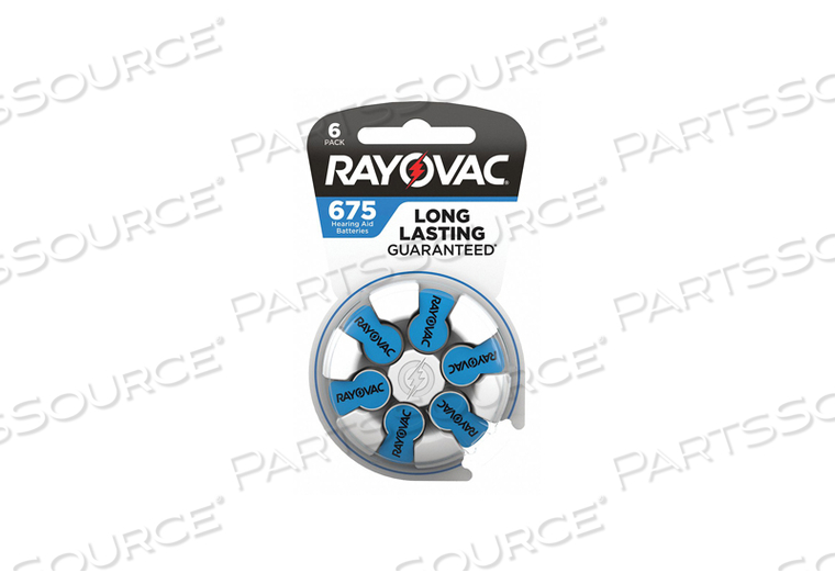 BATTERY, HEARING AID, 675, ZINC AIR, 1.4V, 625 MAH (PACK OF 6) by Rayovac