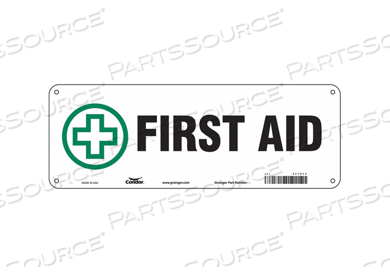 FIRST AID SIGN 14 W X 5 H 0.055 THICK by Condor