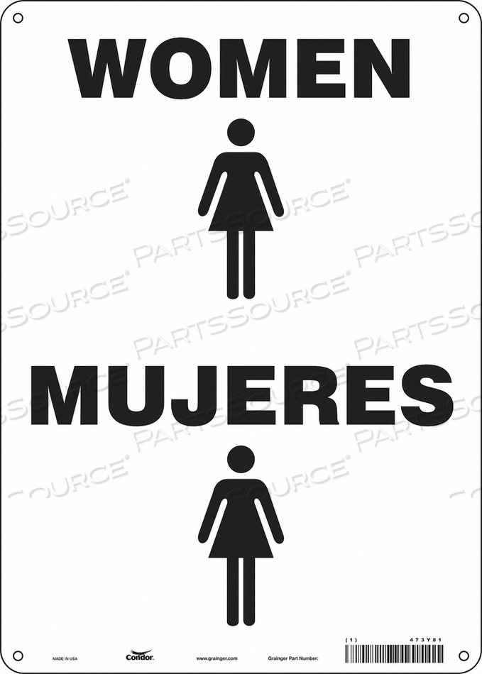RESTROOM SIGN 10 W 14 H 0.055 THICK by Condor