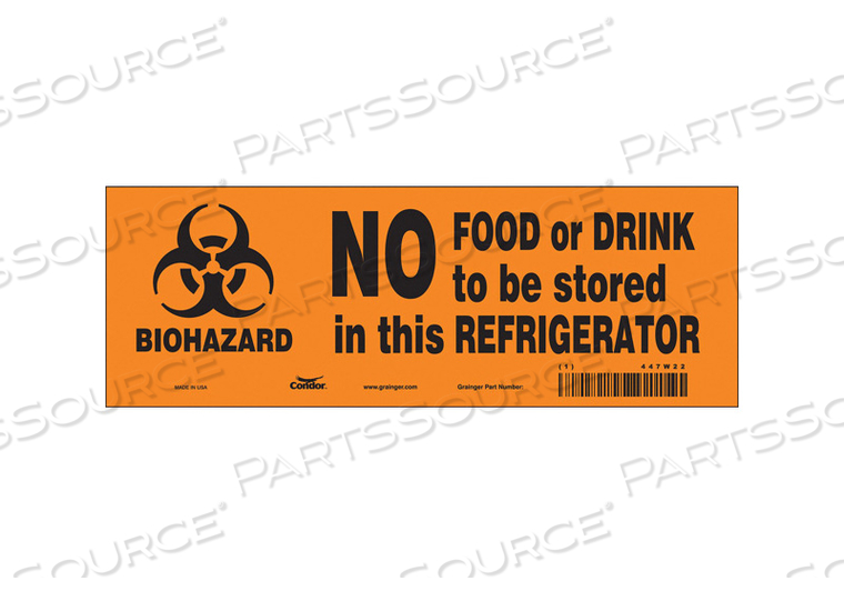 BIOHAZARD SIGN 10 W 3-1/2 H 0.004 THICK by Condor