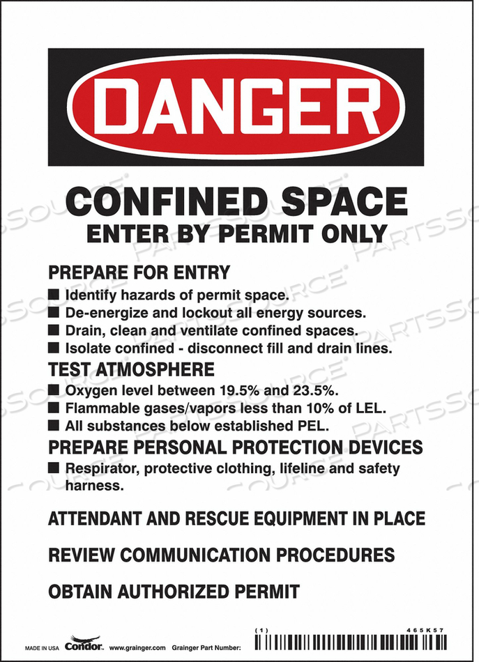 SAFETY SIGN 7 H 5 W VINYL by Condor
