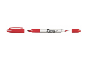 F5596 TWIN TIP PERMANENT MARKER RED PK12 by Sharpie