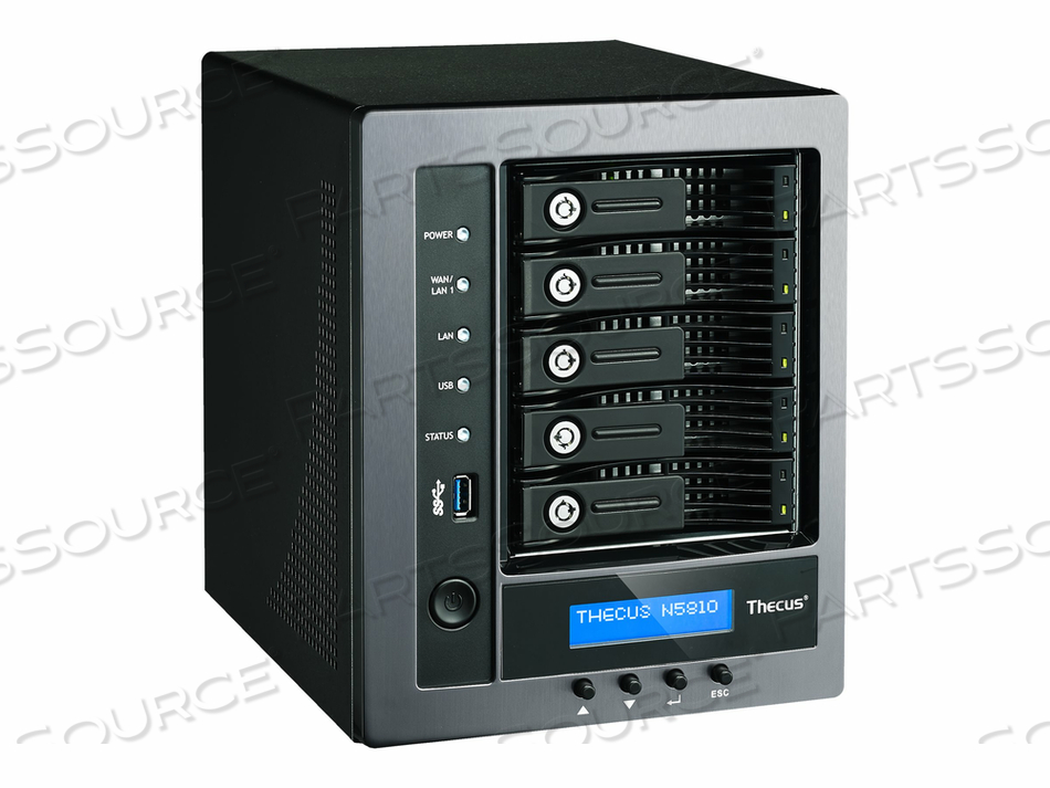 THECUS TECHNOLOGY N5810 - NAS SERVER - 5 BAYS - SATA 6GB/S - RAID 0, 1, 5, 6, 10, JBOD - RAM 4 GB - GIGABIT ETHERNET - ISCSI