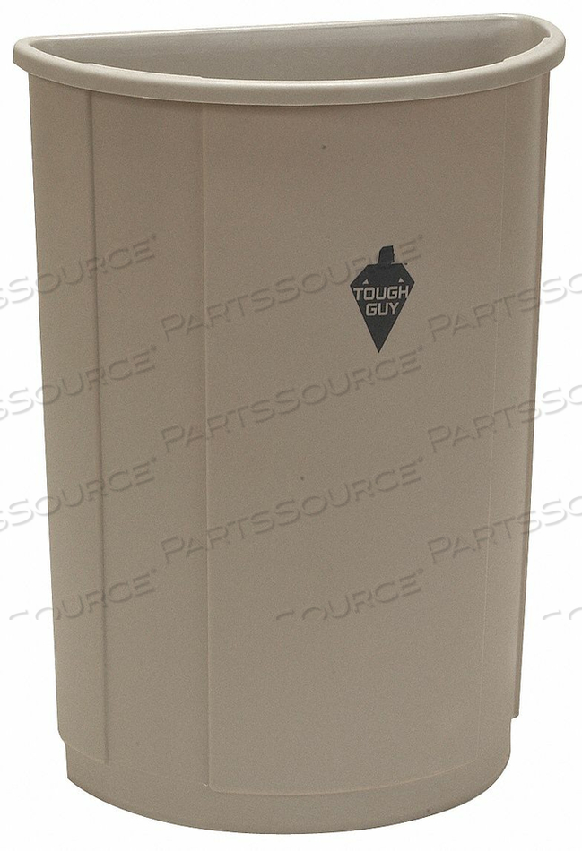 D2127 TRASH CAN HALF ROUND 21 GAL. BEIGE by Tough Guy
