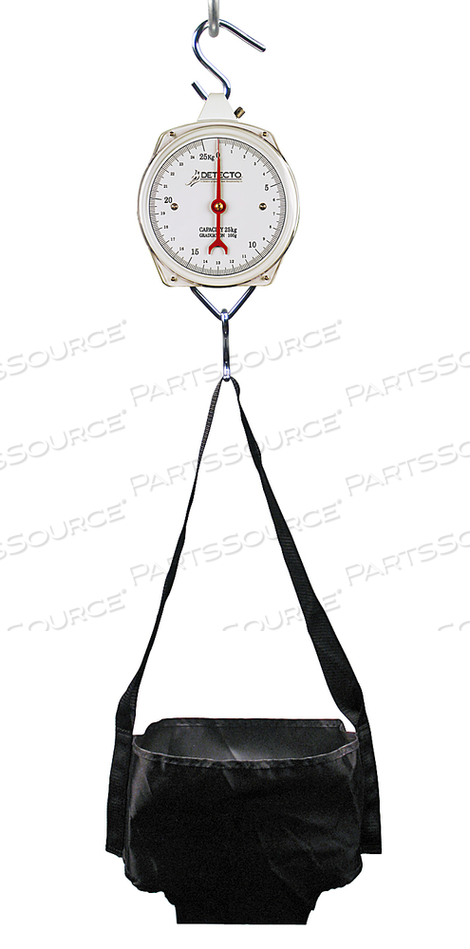 HANGING MECHANICAL SINGLE DIAL BABY SCALE, 25 KG X 100 G, 8 IN GLASS DIAL by Detecto Scale / Cardinal Scale