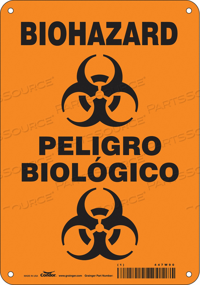 BIOHAZARD SIGN 7 W 10 H 0.032 THICK by Condor