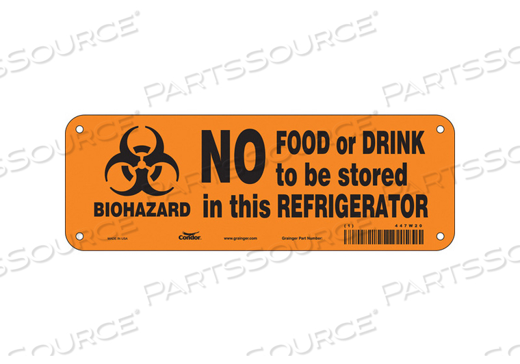 BIOHAZARD SIGN 10 W 3-1/2 H 0.032 THICK by Condor