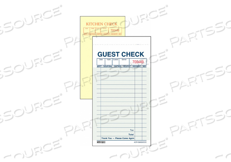 GUEST CHECKS 2-PART CARBONLESS PK50 by Daymark