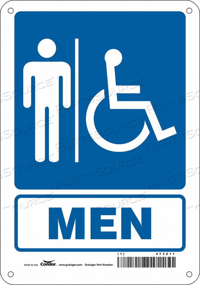 RESTROOM SIGN 7 W 10 H 0.032 THICK by Condor
