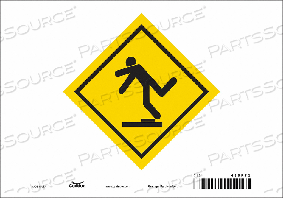 SAFETY SIGN 10 WX7 H 0.004 THICK by Condor