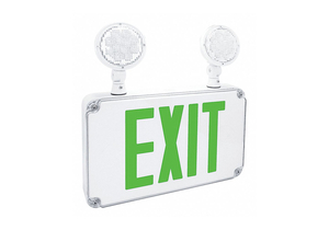EXIT SIGN W/EMERGENCY LIGHTS GRN LETTER by Fulham