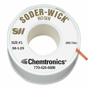 SODER-WICK ROSIN BRAID, COPPER, WHITE, 0.03 IN X 25 FT by Chemtronics
