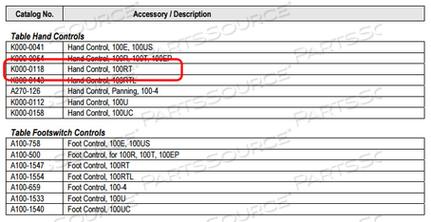 HAND CONTROL FOR ASPECT 100RT by Image Diagnostics, Inc. (IDI)