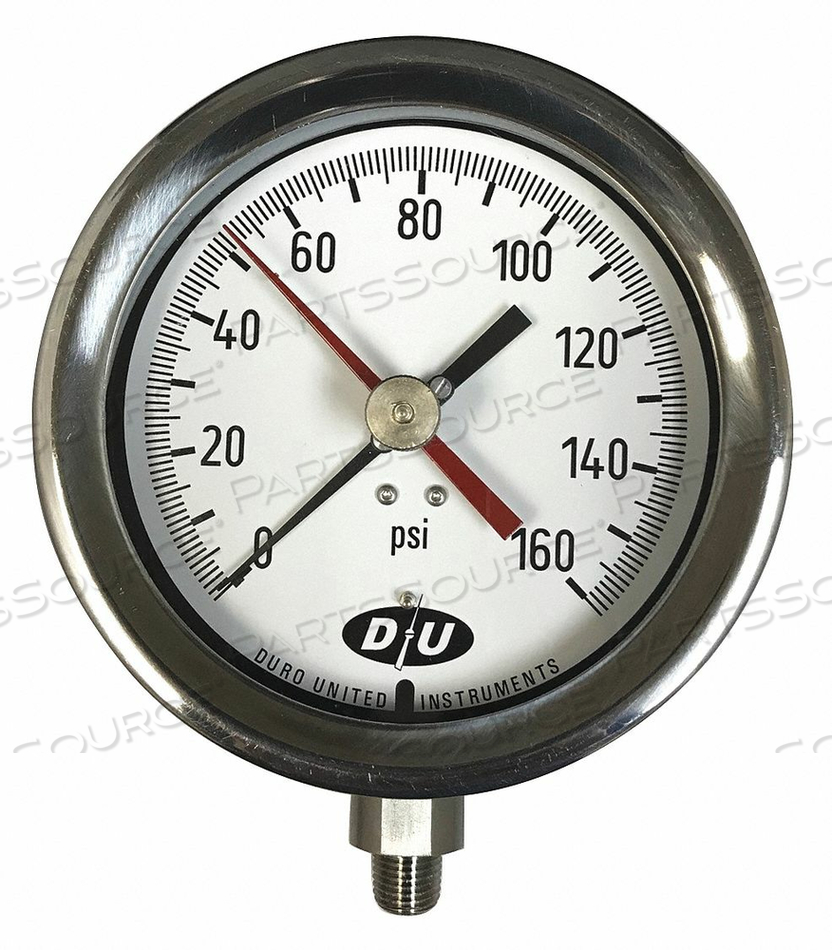 PRESSURE GAUGE 4-1/2 DIAL SIZE by Duro