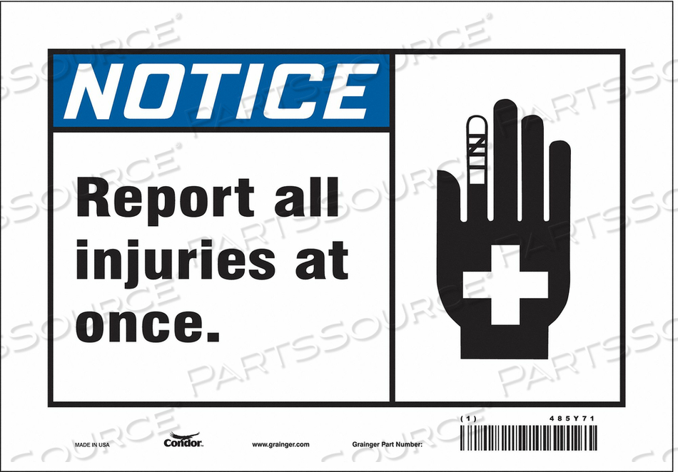 FIRST AID SIGN 10 W 7 H 0.004 THICKNESS by Condor