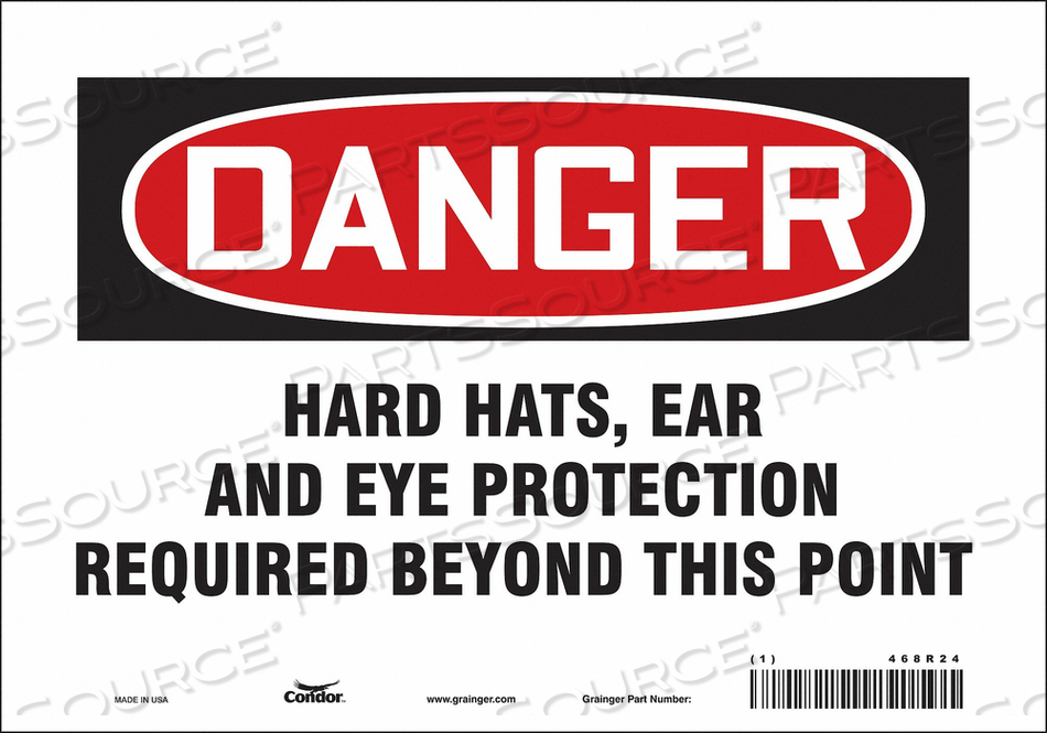 SAFETY SIGN 10 WX7 H 0.004 THICKNESS by Condor