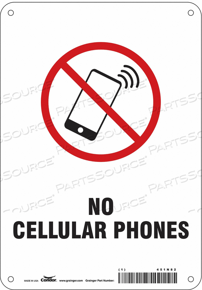 SIGN CELL PHONE 7 W 10 H 0.055 THICK by Condor