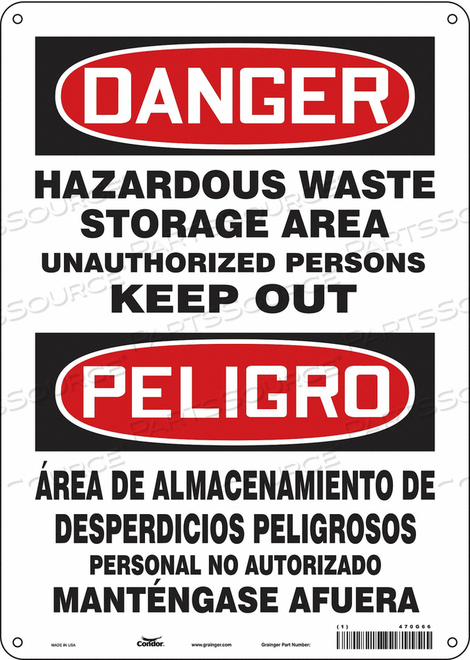 SAFETY SIGN 10 W 14 H 0.060 THICKNESS by Condor