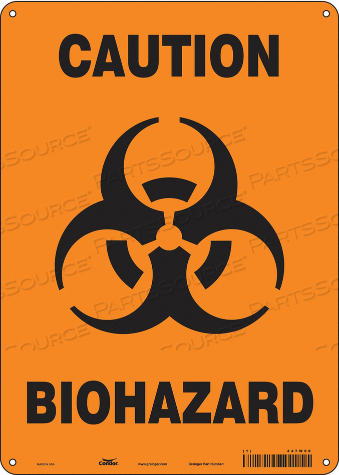 BIOHAZARD SIGN 10 W 14 H 0.060 THICK by Condor