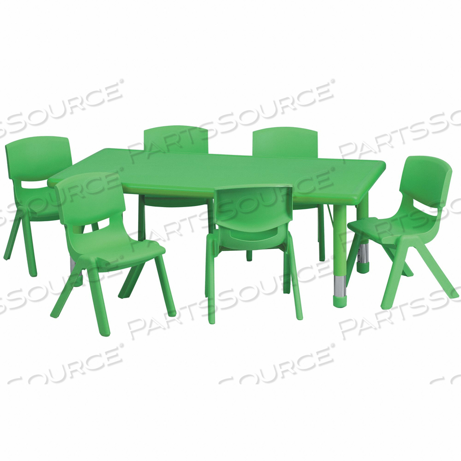 ACTVTY TABLE SET RECTN GN 6 CHRS 24 X48 by Flash Furniture