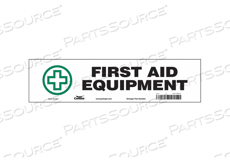 FIRST AID SIGN 14 WX3-1/2 H 0.004 THICK by Condor